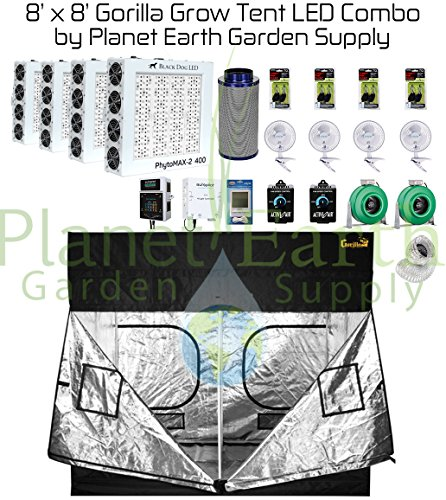 8' X 8' Gorilla Grow Tent Kit Black Dog LED PhytoMax-2 800